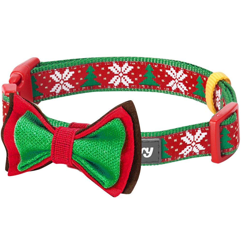 Blueberry Pet 4 Patterns Christmas Joy Snowflakes and Trees Adjustable Dog Collar with Detachable Bow Tie, Small, Neck 12''-16'' by Blueberry Pet