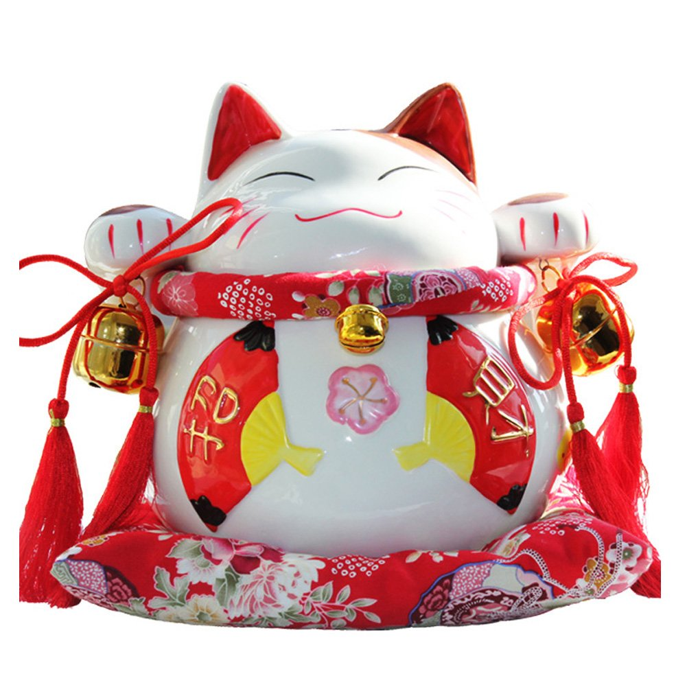 8 Maneki Neko Japanese Porcelain Lucky Cat Money Box Piggy Bank Lucky Blessing #C FANCY PUMPKIN