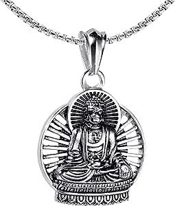 Xusamss Titanium Steel Buddha Religious Pendant Necklace,22inches Link Chain