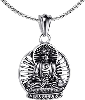 Xusamss Punk Buddha Necklace Religious Pendant Necklace,22inches Link Chain