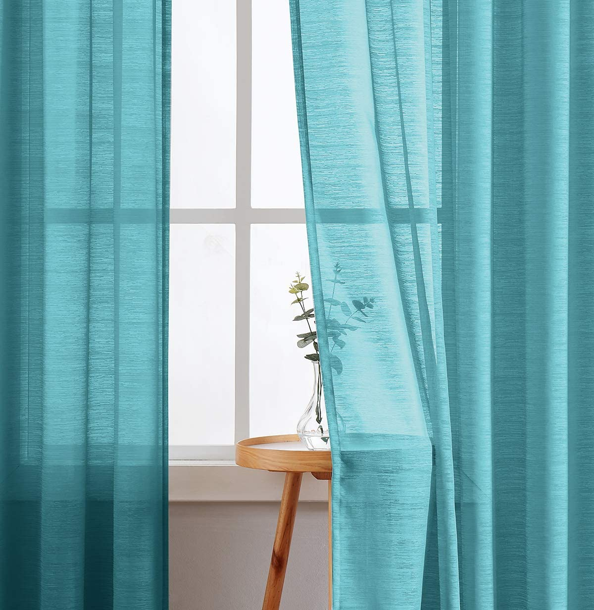 Fmfunctex Blue Sheer Curtains for Living Room Bedroom 84-inch Length Curtain Panels for Windows Draperies 1 Pair