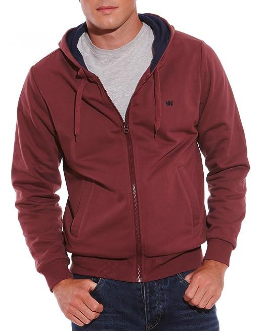 ee7ca6a85226 Savile Row Mens Burgundy Hoodie Zip Front Sweatshirt Size XX-Large ...