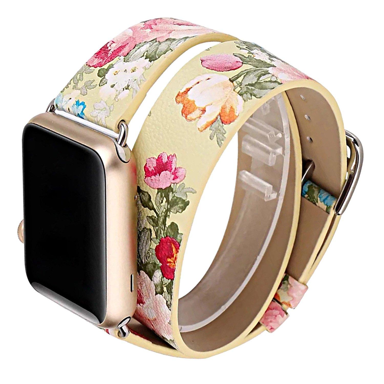 ZXK Co本革時計バンド、ダブル円ブレスレットバンドfor Apple Watchシリーズ1 / 2 / 3交換用時計ストラップ38 mm / 42 mm 38mm|イエロー イエロー 38mm B077G1HPY2