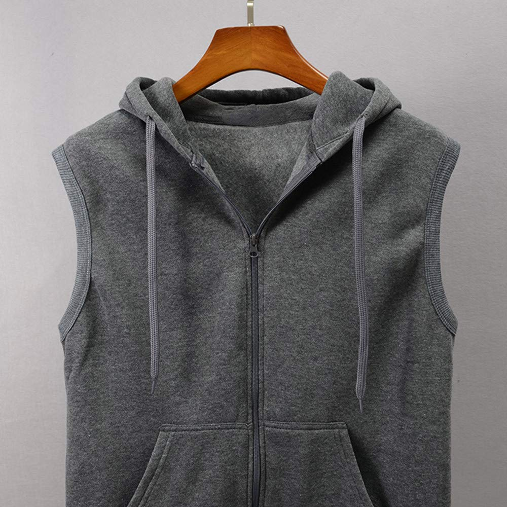 WUAI Clearance Men's Hoodie Jackets Sleeveless Slim Fit Waistcoat Solid Color Athletic Sports Tops(Grey,US Size M = Tag L) by WUAI (Image #3)