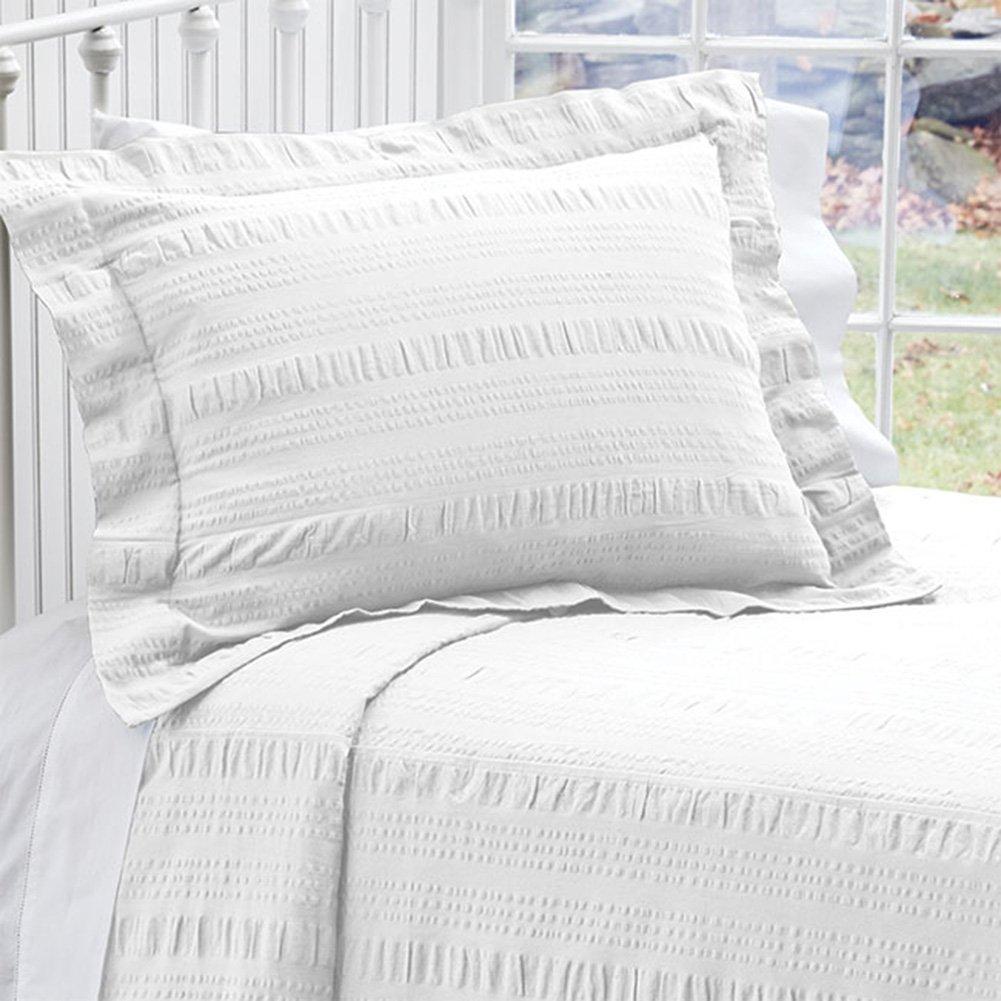 Orvis Solid Seersucker Bedspread/Only Queen, White,