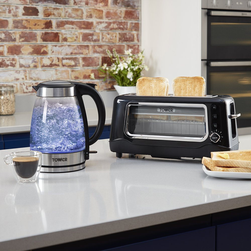 Tower Illuminating Glass Kettle with 2 Slice Long Slot Glass Toaster Set
