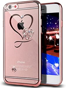 GIZEE iPhone 6S Plus Case,iPhone 6 Plus Case, Sweet Love Heart Glitter Bling Crystal Rhinestone Diamonds Clear Rubber Rose Gold Plating Frame TPU Soft Silicone Bumper Cover for iPhone 6/6S Plus 5.5""