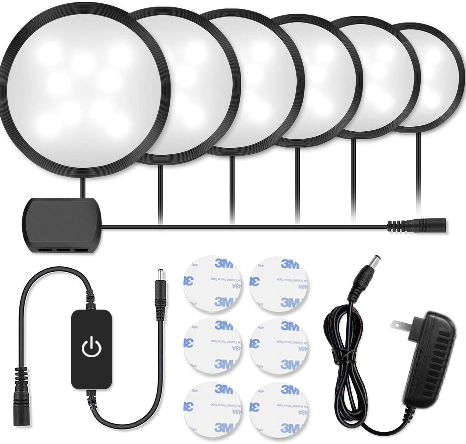Newest Black LED Under Cabinet Lighting Kit, 1020 Lumens LED Puck Light, 5000K Daylight White, CRI90 , Touch Dimming, All Accessories Included, for Kitchen, Closet Lights, Safe Light, 6-Pack