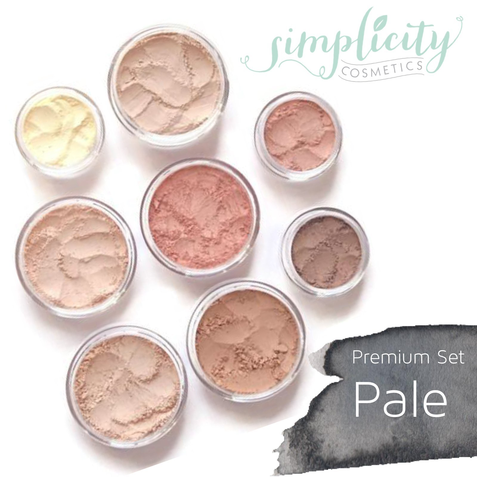 Mineral Makeup Premium Set - Pale | Blush | Foundation | Sheer Powder | Eyeshadow | Bronzer | Under Eye Concealer | Starter Set