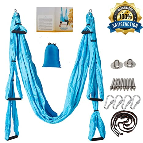 oremila Aerial Yoga Trapeze/Swing/Sling Kit for Back Pain Relief, Antigravity Yoga Hammock with Daisy Chains, Heavy Duty Carabiners, Hanging Straps ...