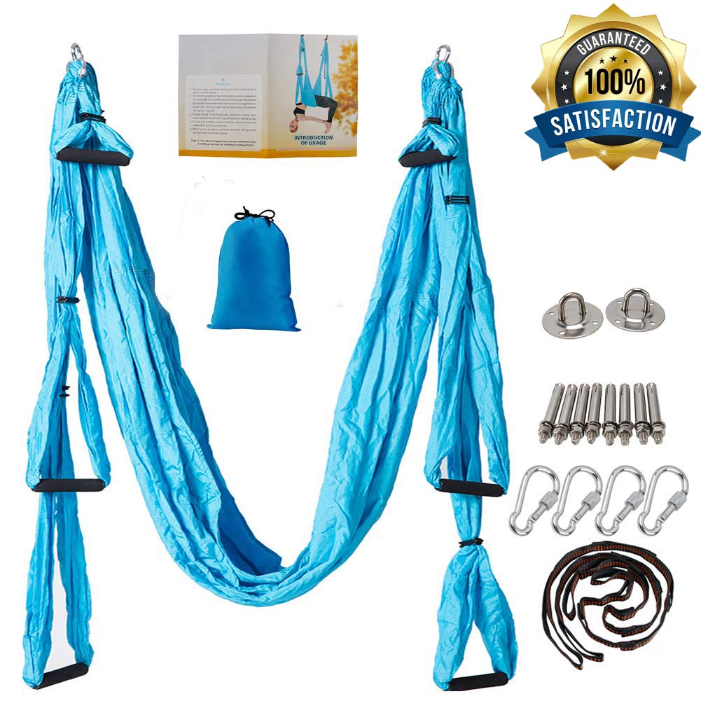oremila Aerial Yoga Trapeze Relieve Pain Back, Ease Pain Neck, Easy to Setup, Durable Studio Quality Hammock/Swing/Inversion/Sling/Kits Cyan/Orange