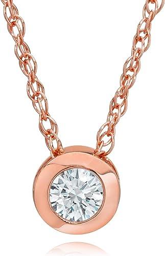 Silvercartvila 0.1 Cts D//VVS1 Diamond Heart Outline Pendant W//18 Chain in 14K Rose Gold Plated
