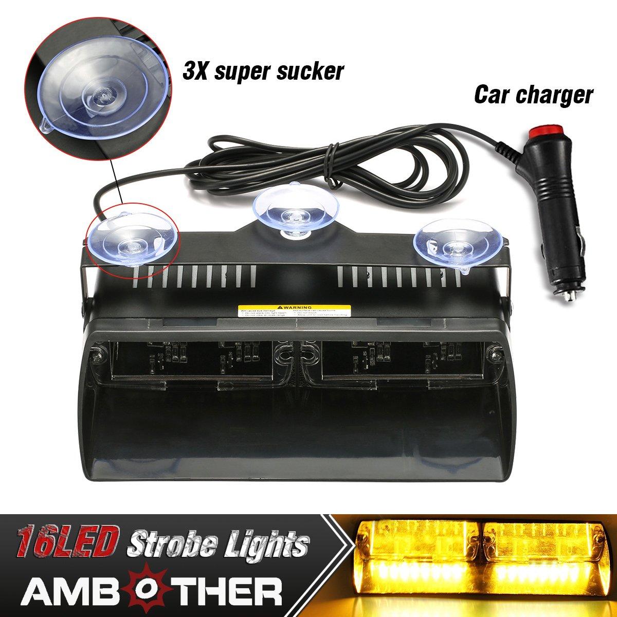 AMBOTHER 16 LED Auto Frontleuchte Signal LED Warnleuchte Blinkleuchte Lichtbalken Blitzleuchte Hohe Intensität Recht Durchsetzung Stroboskoplicht Warnblitzleuchten 18 Strobe-Muster für Träger Auto