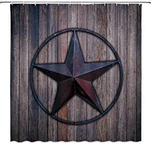 WZFashion Texas Star Farmhouse Shower Curtain Rustic Vintage Brown Wooden Barn with Western Texas Star Rustic Country Garage American Dalls Decor Fabric Bathroom Curtain with Hooks