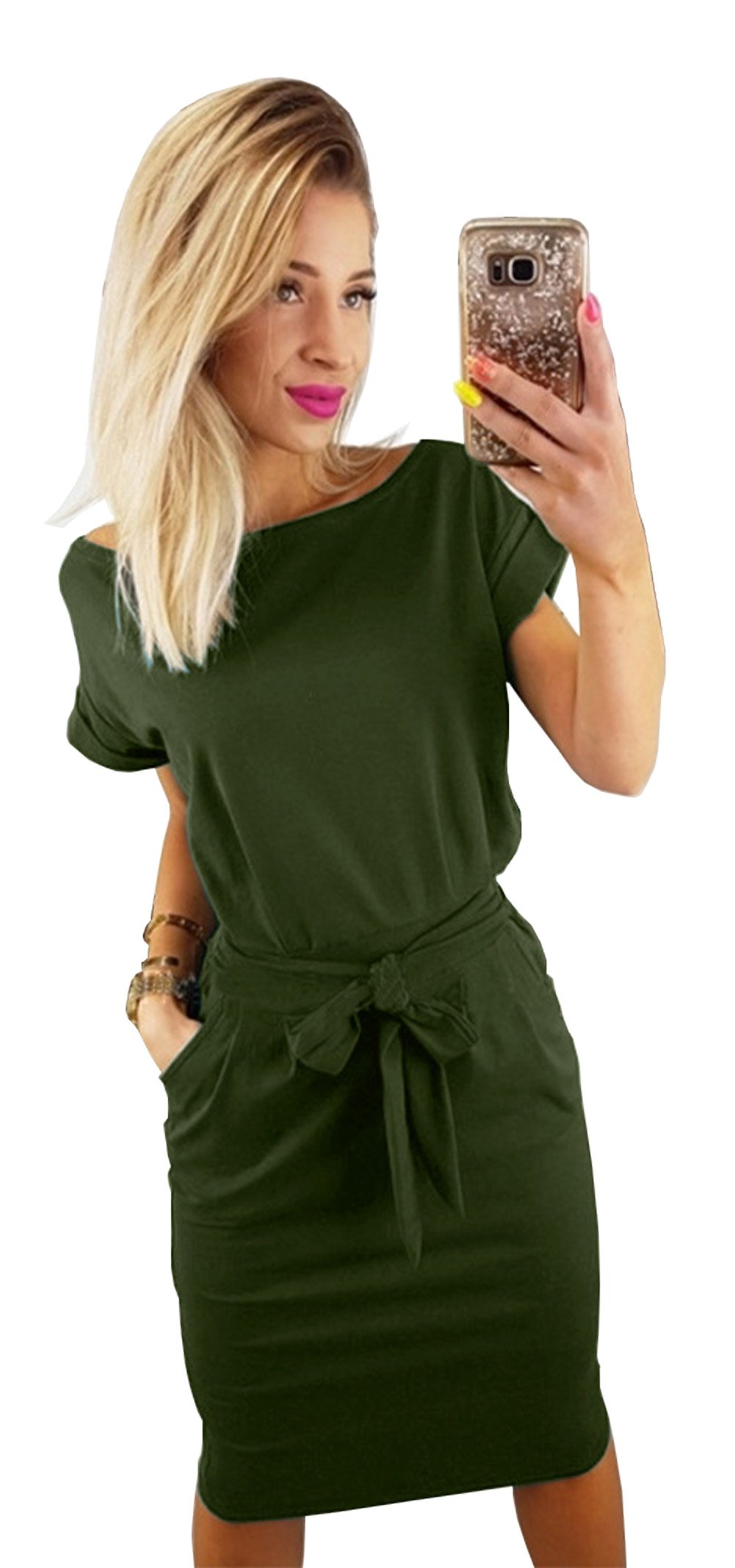 Longwu Women's Elegant Short Sleeve Wear to Work Casual Pencil Dress Belt ArmyGreen-S