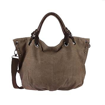 78cb170f5ff8d OBC Moderne Damen Tasche Canvas XXL Shopper Stofftasche Schultertasche  Umhängetasche Baumwolle Beuteltasche Strandtasche Bag Street Braun