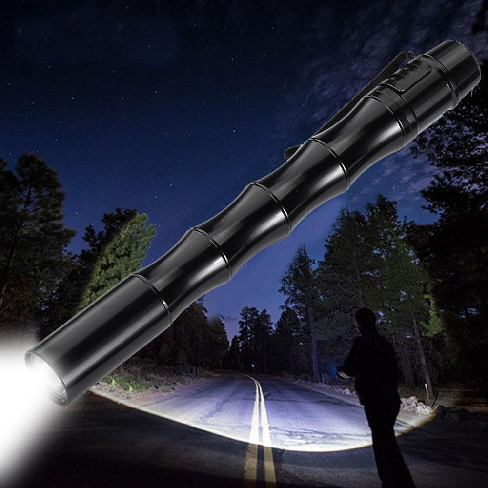 Mini LED Flashlights 1000LM CREE XP-E R2 LED Aircraft Aluminum Body Mini Pen Pocket Flashlights Great for Household, Outdoor Activities, Hiking, Night Fishing, Camping (Batteries Not Included)