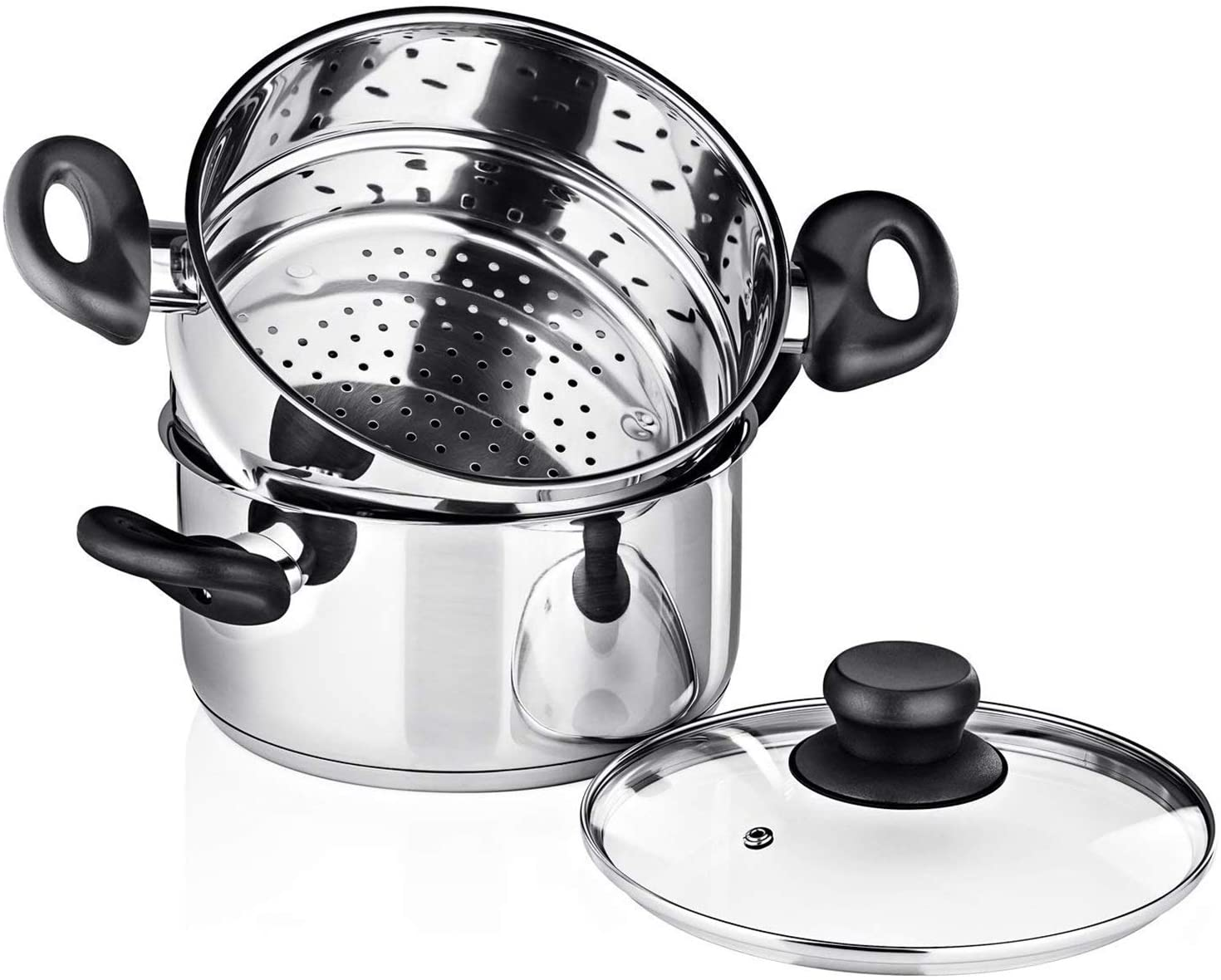 Chef's Star Steamer pot for Cooking, 3 Piece Steamer Cookware, 2 Tier Stove Steamer for Kitchen Cookware Sets.