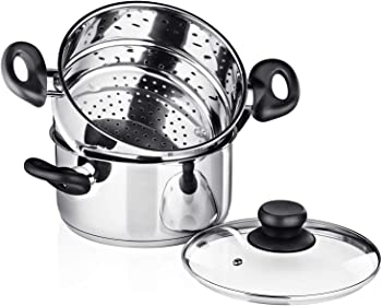 Chef's Star 3-Piece Vented Glass Lid Tamale Steamer