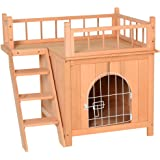 PawHut 2-Level Elevated Waterproof Outdoor Wooden Treehouse Cat Shelter with Balcony