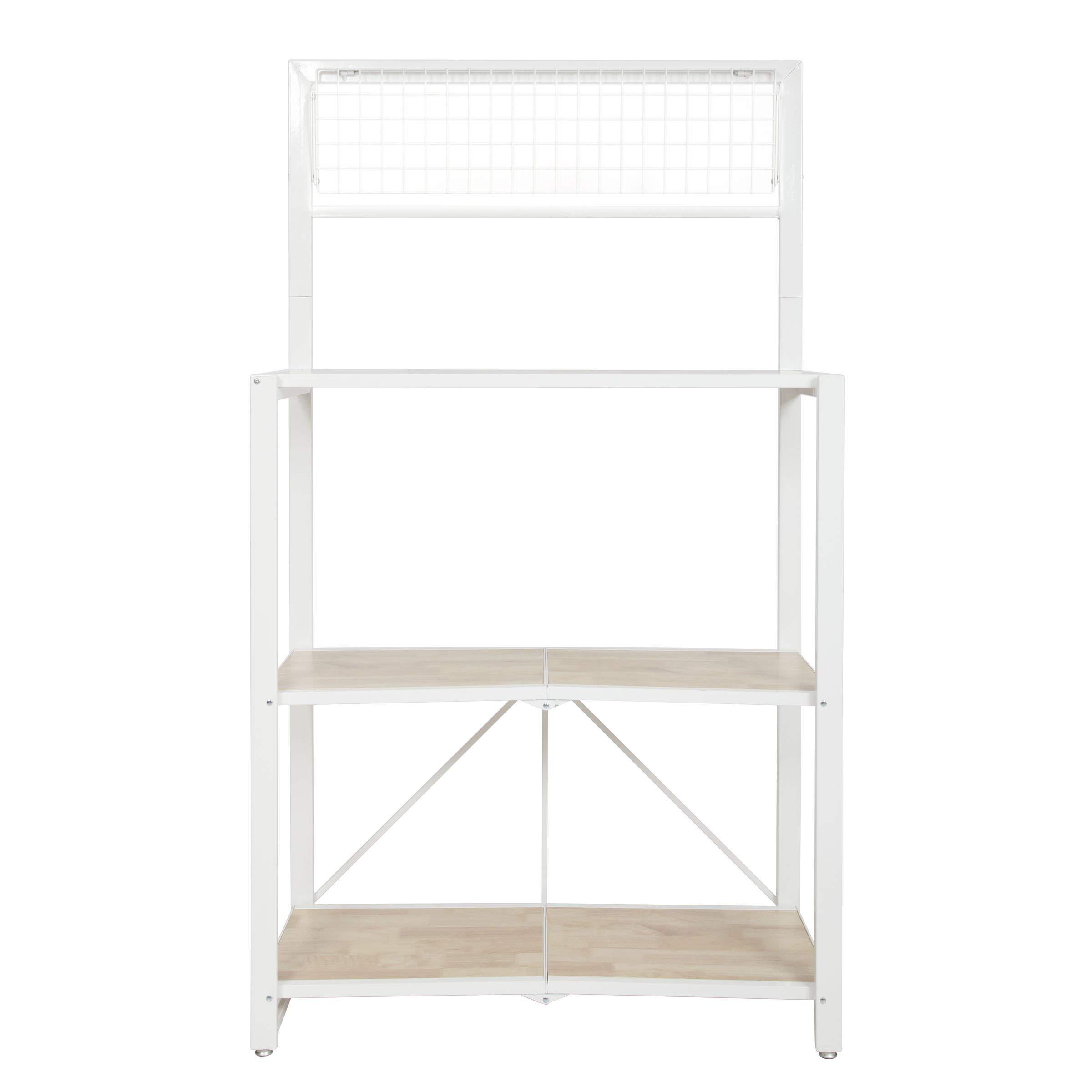 Origami Folding 4-Tier Heavy Duty Steel Baker's Rack with Wood Shelf, White by Origami (Image #2)