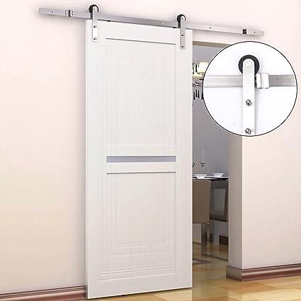 HOMCOM 6 5FT / 2m Stainless Steel Sliding Door Kits Barn Hardware Closet  Set Modern Style Track System For Single Wooden Door