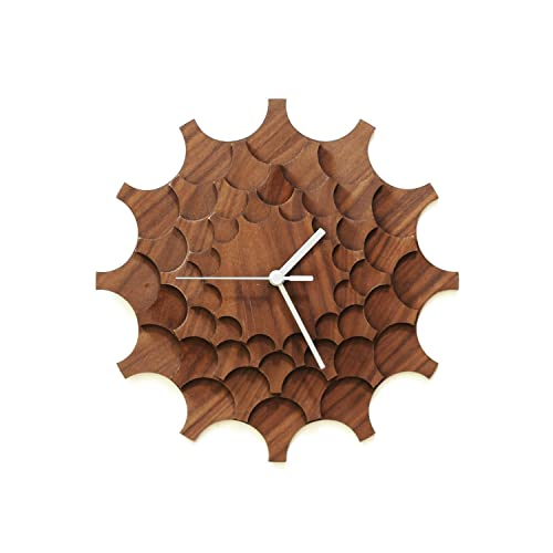 Cogwheel Walnut – 11 Unique Stylish Handmade Wall Clock Made of Walnut Veneered Plywood, a Piece of Wall Art by ardeola