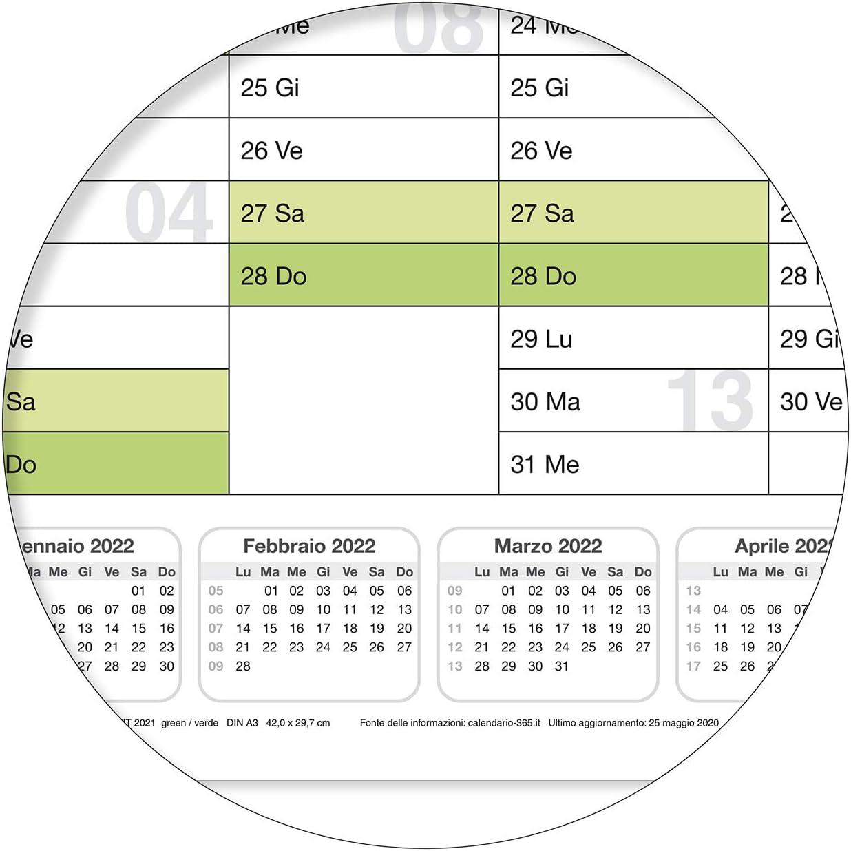 ARROTOLATA CONSEGNATA con 1 perno EDDING CALENDARIO DA MURO 2021 XL 100 X 70 CM CARTELLONISTICA CALENDARIO VERDE UMIDO LAVABILE