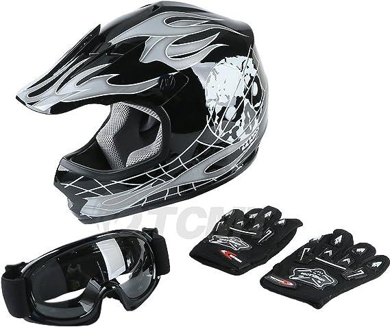 SLMOTO Youth Kids Motocross Offroad Street Helmet Motorcycle Helmet Dirt Bike ATV DOT Approved Black Skull Helmet+Goggles+Gloves