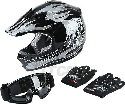 Amazon Com Tcmt Dot Youth Kids Motocross Offroad Street Helmet Black Skull Motorcycle Youth Helmet Dirt Bike Motocross Atv Helmet Goggles Gloves S Automotive