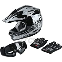 TCMT Dot Youth & Kids Motocross Offroad Street Helmet Black Skull Motorcycle Youth Helmet Dirt Bike Motocross ATV Helmet…