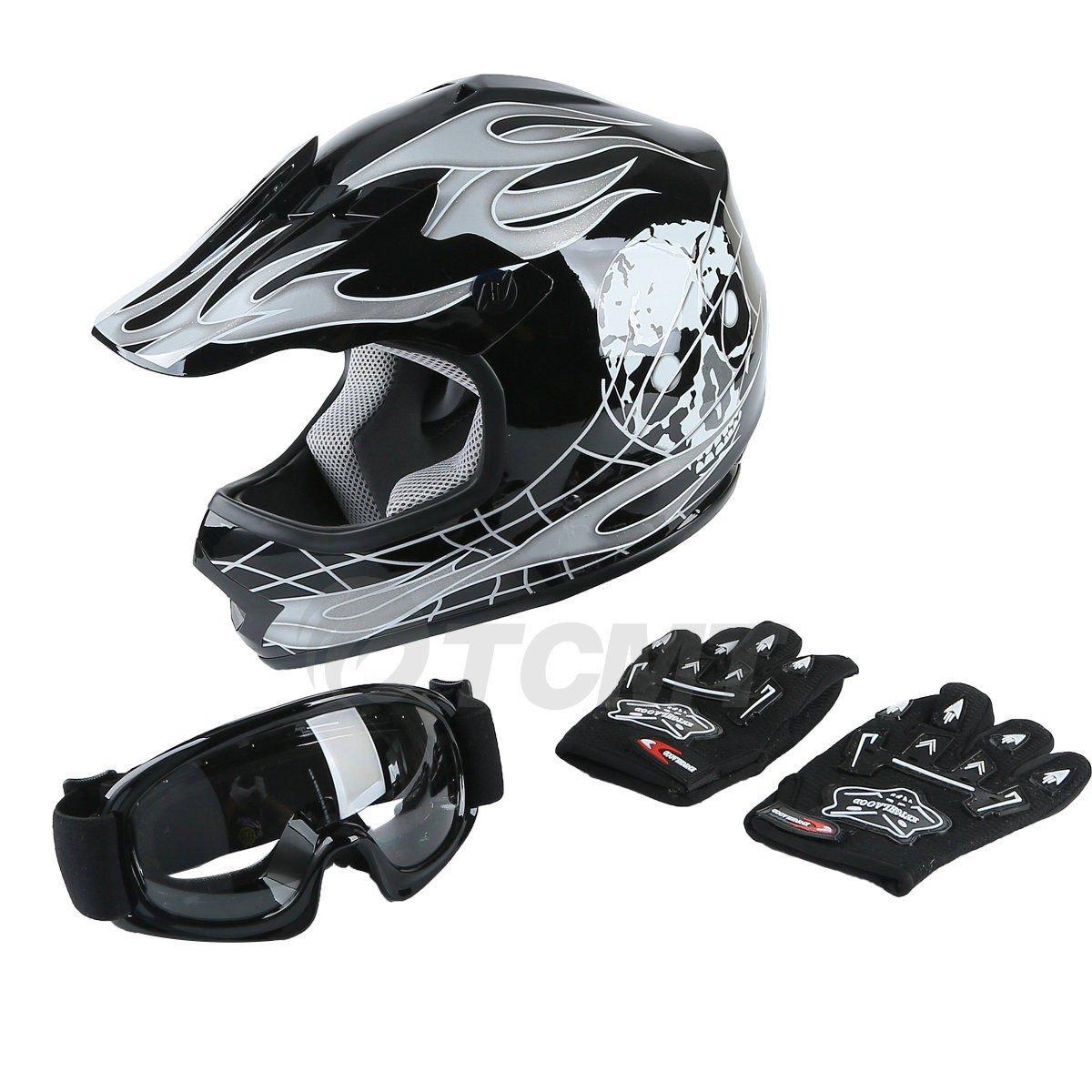 TCMT Dot Youth & Kids Motocross Offroad Street Helmet Black Skull Motorcycle Helmet Silver Dirt Bike Helmet+Goggles+gloves L