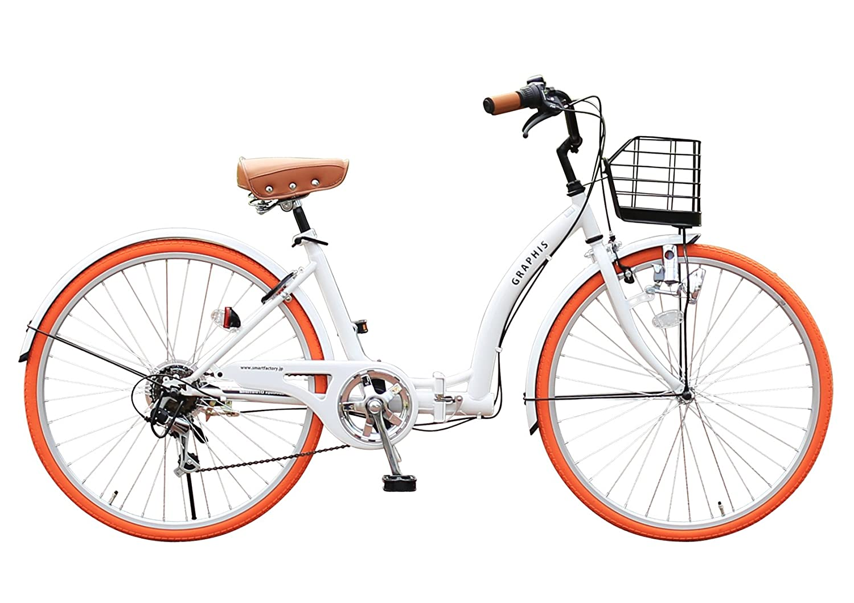GRAPHIS GR-CITY OT-26 26インチ 折り畳み自転車 シティサイクル 一般車 6段変速 自転車 メンズ レディース ママチャリ おしゃれ 通販 激安【送料無料】 B00NXI74IW ホワイトオレンジ ホワイトオレンジ