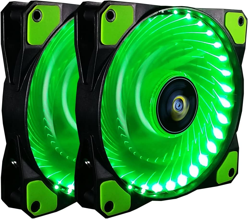 CONISY 120mm PC Case Cooling Fan Super Silent Computer LED High Airflow Cooler Fans - Green (2 Pack)