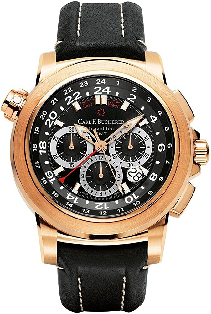 Carl F. Bucherer Patravi TravelTech GMT Chronograph Men's Rose Gold Automatic Chronometer Swiss Made Watch 00.10620.03.33.01