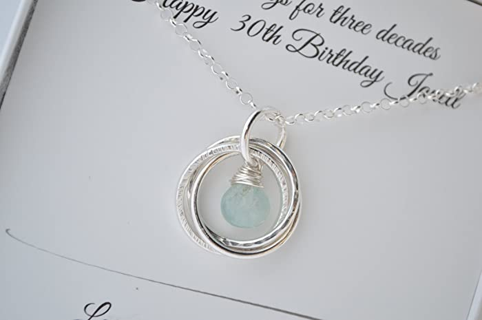 30th Birthday Gift For Sister Aquamarine Birthstone Necklace 3 Sisters 3rd Anniversary
