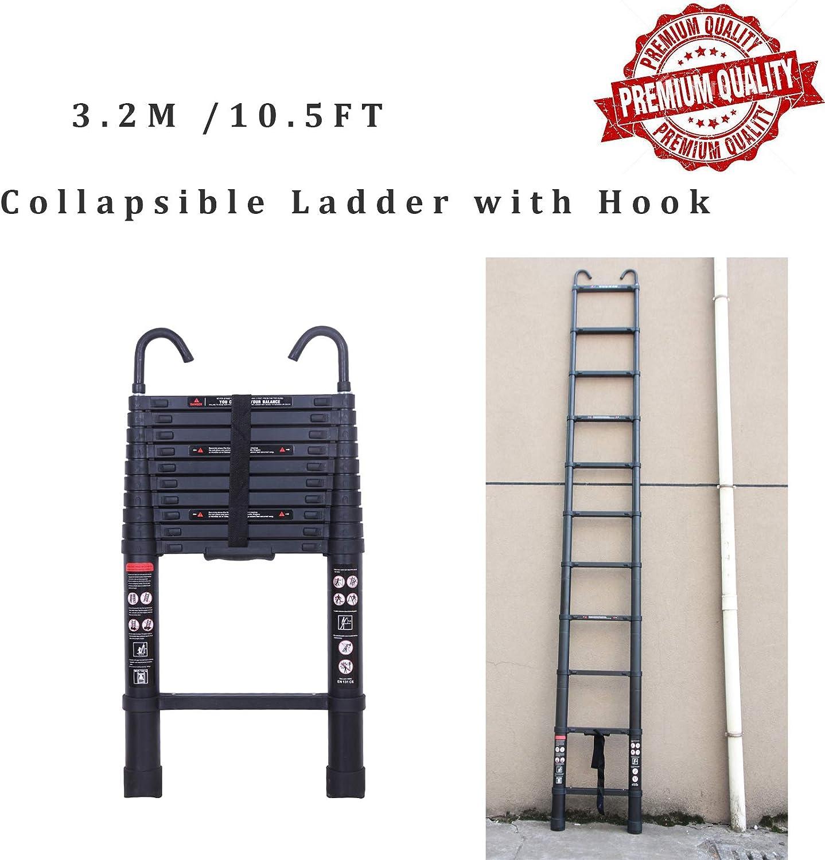 Escalera extensible de 10 pies con gancho desmontable, escalera extensible de 11 peldaños hecha de aluminio de alta calidad, ligera y fácil de usar, retracción de botones y correa para almacenar.: Amazon.es: