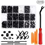 Preciva 415pcs Car Retainer Clips and Plastic Fasteners Kit with Removal Tools-18 Sizes of Push Rivet Fasteners and Clips Fits GM Ford Chrysler Toyota Honda Nissan Mazda Subaru Volkswagen