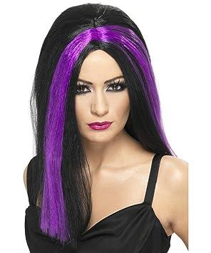 Smiffys - Peluca negra con mechas violetas para mujer, ideal para Halloween