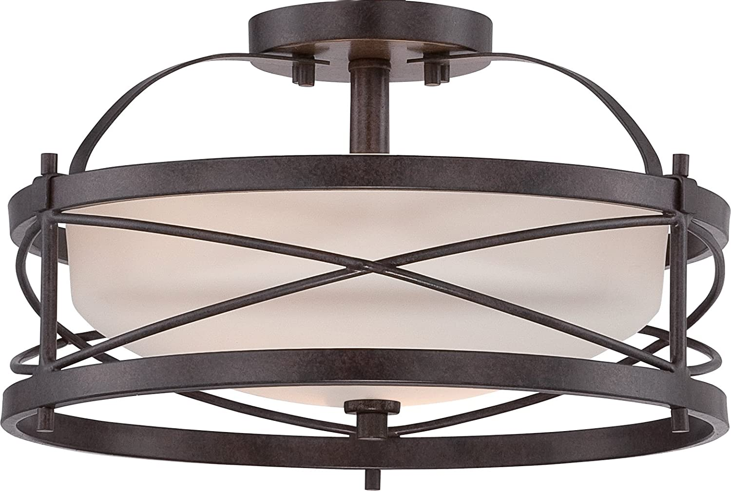 "Nuvo Lighting 60/5335 Two Light Semi Flush Mount, 14"" W x 8.25"" H, Bronze/Dark"