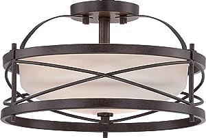 "Nuvo Lighting 60/5335 Two Light Semi Flush Mount, 14"" W x 8.25"" H, Bronze/Dark"