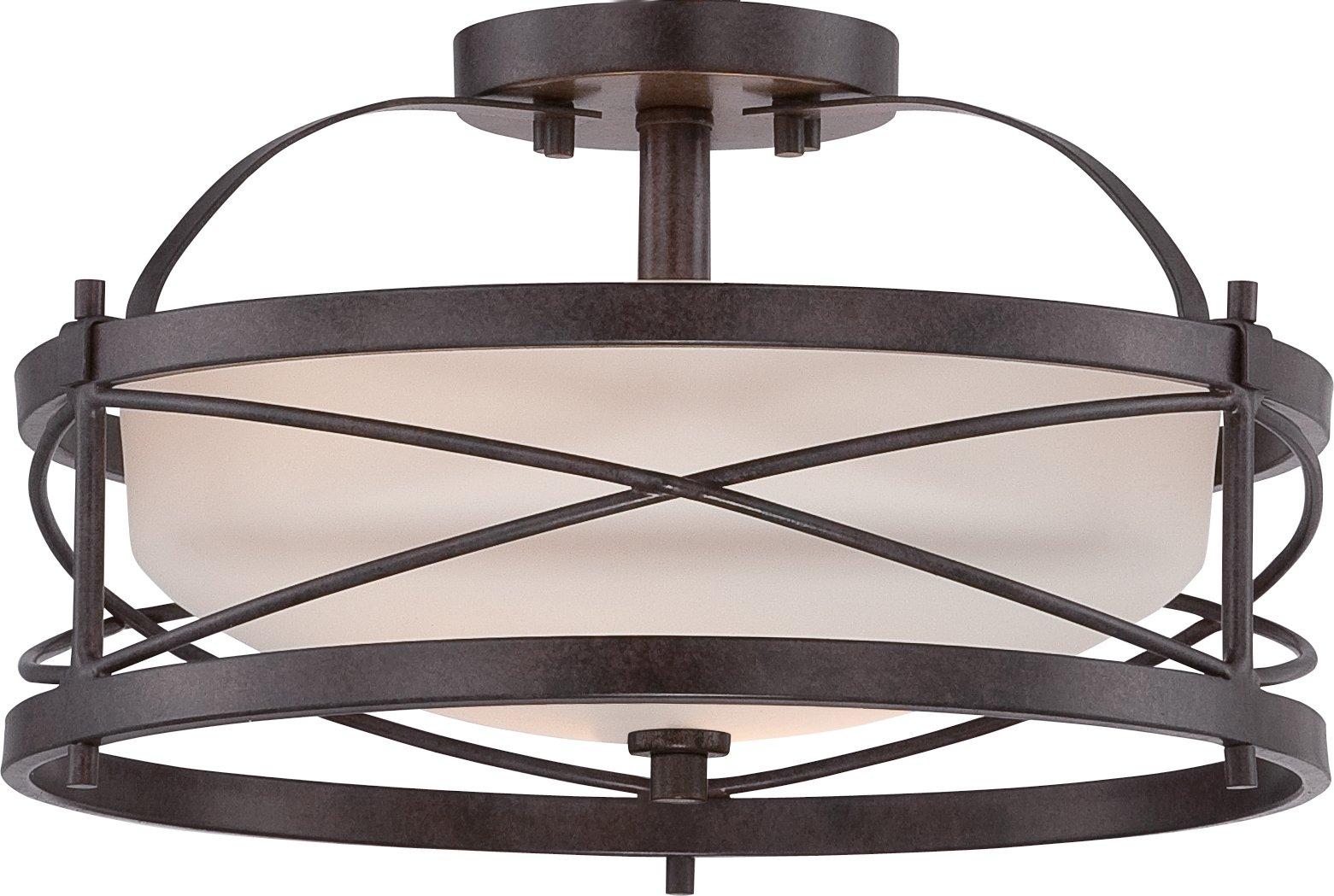 Nuvo Lighting 60/5335 Two Light Semi Flush Mount, 14'' W x 8.25'' H Bronze/Dark