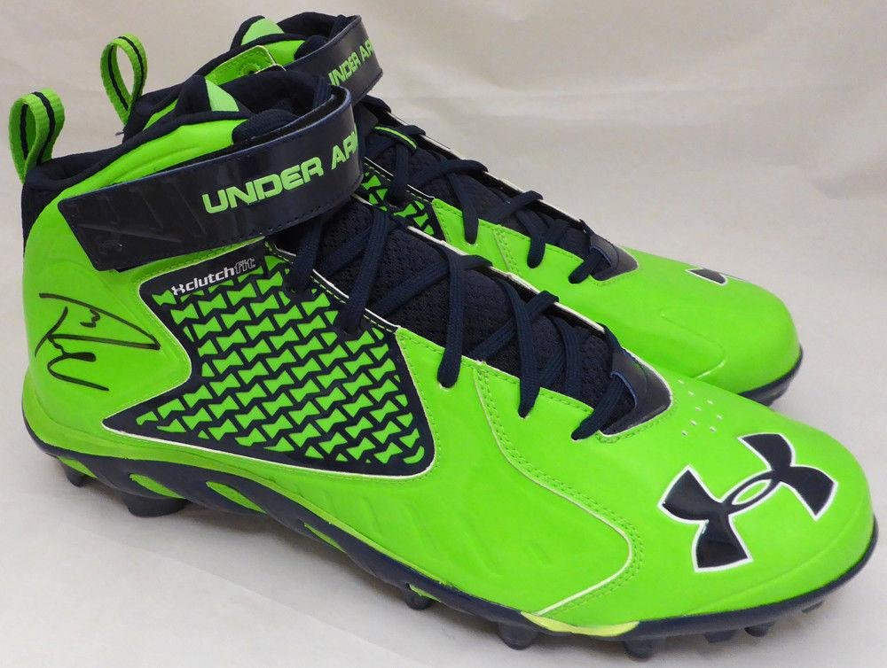 Russell Wilson Autographed Signed Under Armour Cleats Seahawks RW Holo 42154 Autographed NFL Cleats