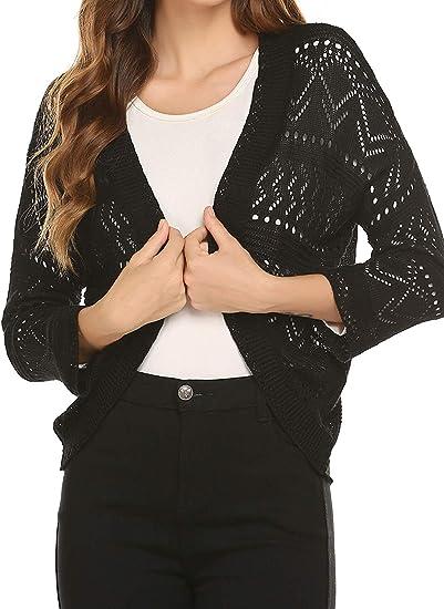 Women/'s Crochet Knit Ladies Front Open Short Sleeve Crop Shrug Bolero Top Jacket