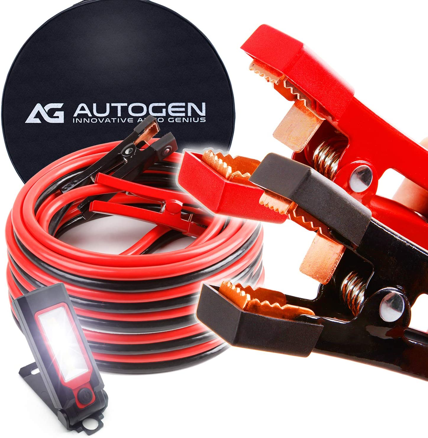 AUTOGEN Booster Cable 1 Gauge 25Ft 900AMP Heavy Duty Jumper Battery Cables with Carry Bag for Car Battery Jump Starter Cables for Heavy Duty Trucks