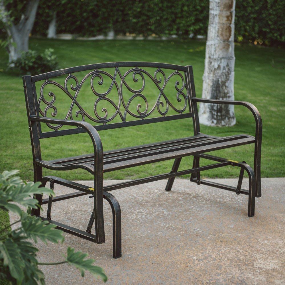 Amazon com outdoor metal bench set on a glider in antique bronze finish 50 5l x 27w x 33 5h in garden outdoor