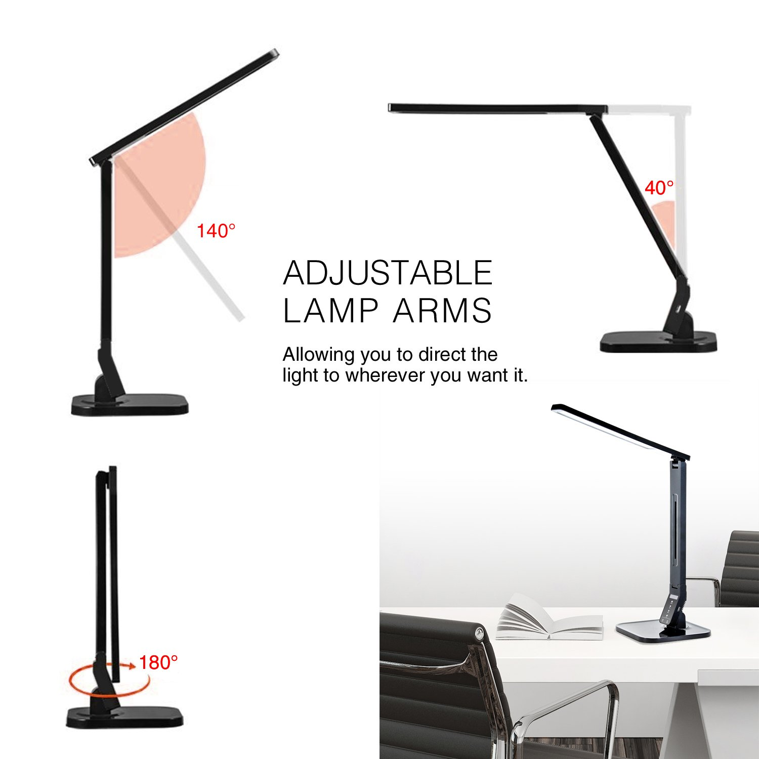 Tenergy 11W Dimmable Desk Lamp with USB Charging Port, LED Adjustable Lighting for Reading, 5 Brightness Levels 4 Light Colors Table Light by Tenergy (Image #5)