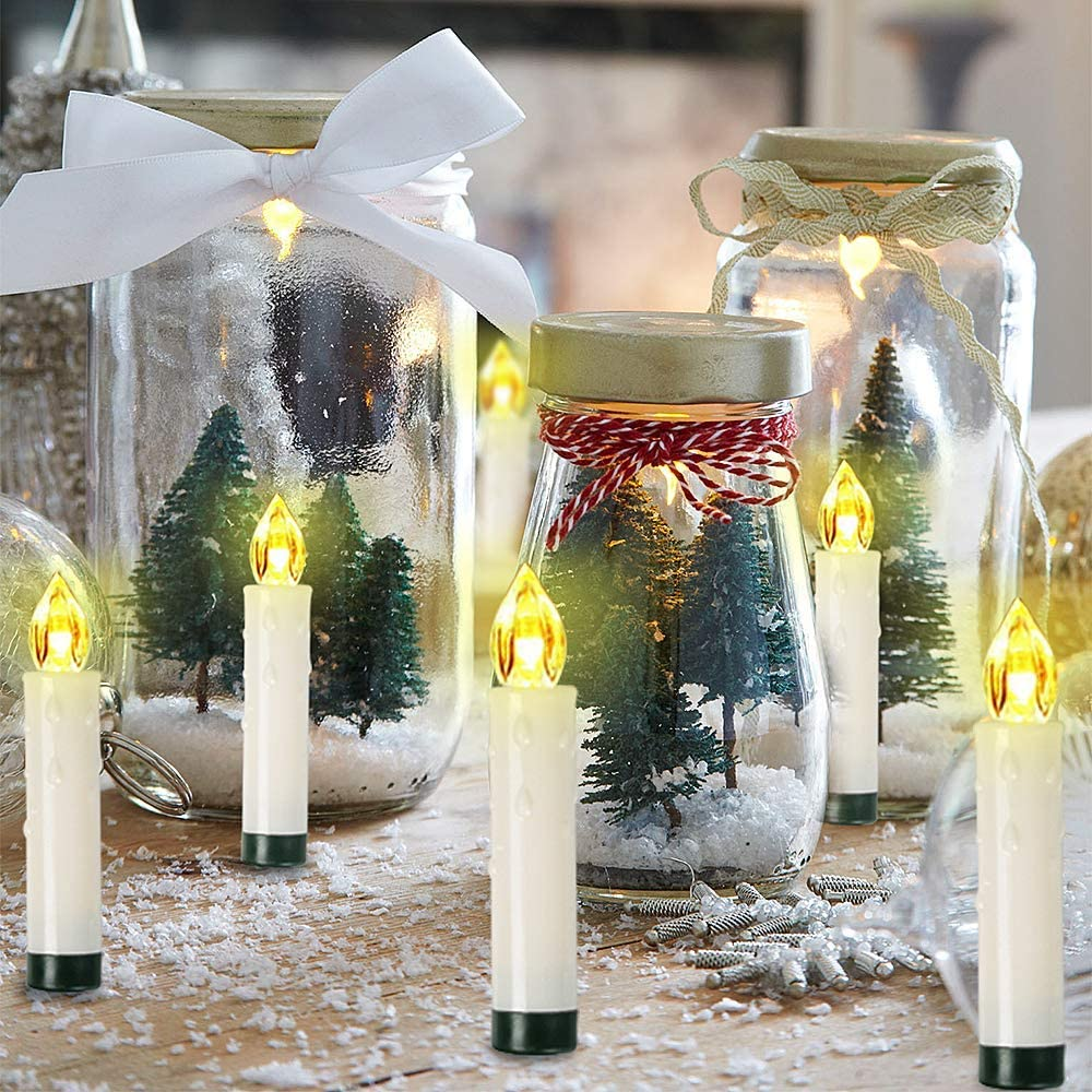 /éclairage pour sapin de No/ël 2 modes d/éclairage de No/ël 52 Sets Bougies de No/ël sans fil OZAVO Lot de 20 bougies /à LED sans fil avec t/él/écommande