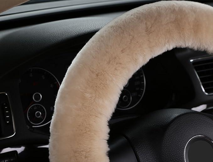 Dotesy Plüsch Auto Lenkrad Bezug In Weiches Wolle Auto Rad Schutzfolie Für 38 X 38 Cm Steeling Rad In Durchmesser Auto