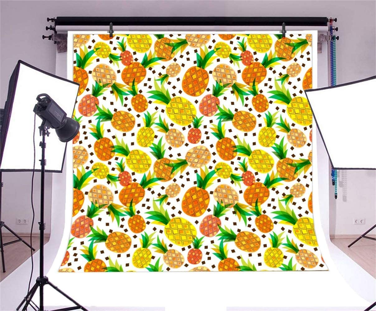8x8ft Golden Tropical Fruits Pineapples Illustration Polyester Photography Background Child Adult Portrait Shoot Backdrop Summer Party Birthday Banner Wallpaper Studio Props